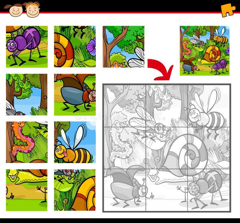Jeu de puzzle denteux d'insectes de bande dessinée illustration de vecteur