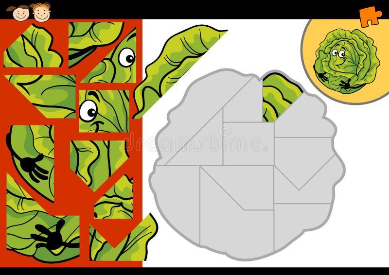 Jeu de puzzle denteux de chou de bande dessinée illustration libre de droits