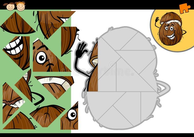 Jeu de puzzle denteux de noix de coco de bande dessinée illustration libre de droits