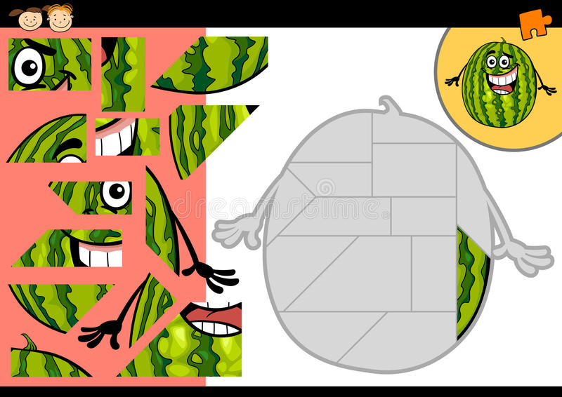Jeu de puzzle denteux de pastèque de bande dessinée illustration stock
