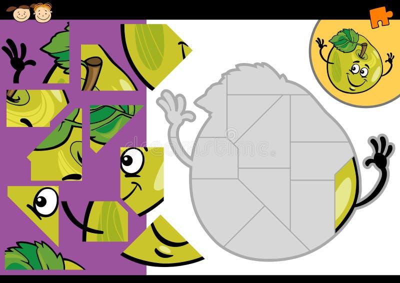 Jeu de puzzle denteux de pomme de bande dessinée illustration stock