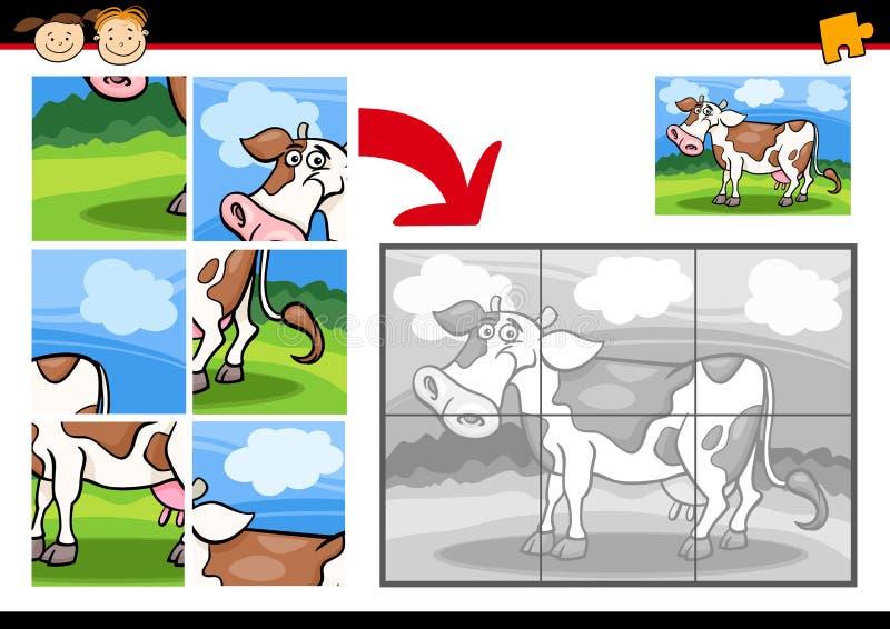 Jeu de puzzle denteux de vache à bande dessinée illustration de vecteur