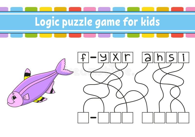 Jeu de puzzle de logique Étude des mots pour des enfants Trouvez le nom caché Fiche de travail se développante d'éducation Page d illustration stock