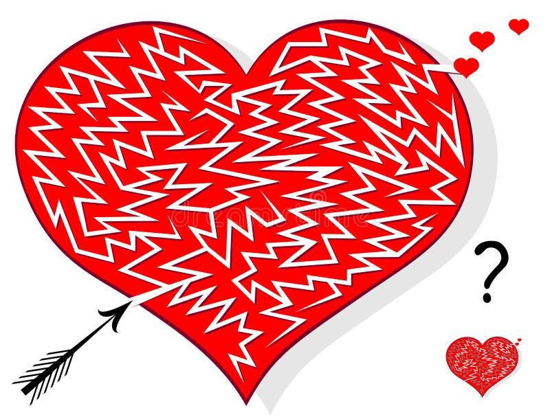 Jeu de puzzle de logique avec le labyrinthe pour des enfants et des adultes Trouvez quelle manière la flèche peut percer le coeur illustration libre de droits