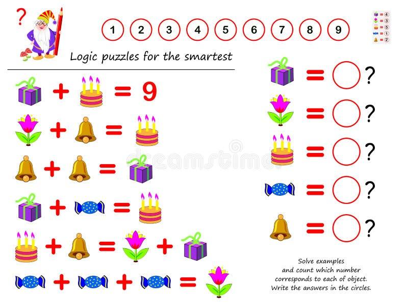 Jeu de puzzle de logique mathématique Résolvez les exemples et le compte que le nombre correspond à chacun d'objet Écrivez les ré illustration de vecteur