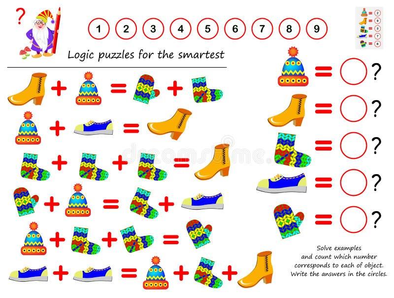 Jeu de puzzle de logique mathématique Résolvez les exemples et le compte que le nombre correspond à chacun d'objet Écrivez les ré illustration stock