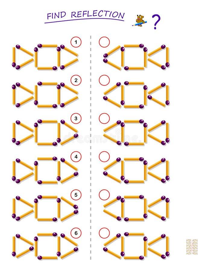 Jeu de puzzle de logique pour des enfants Devez trouver la réflexion correcte pour chaque ensemble d'allumettes Page imprimable p illustration de vecteur