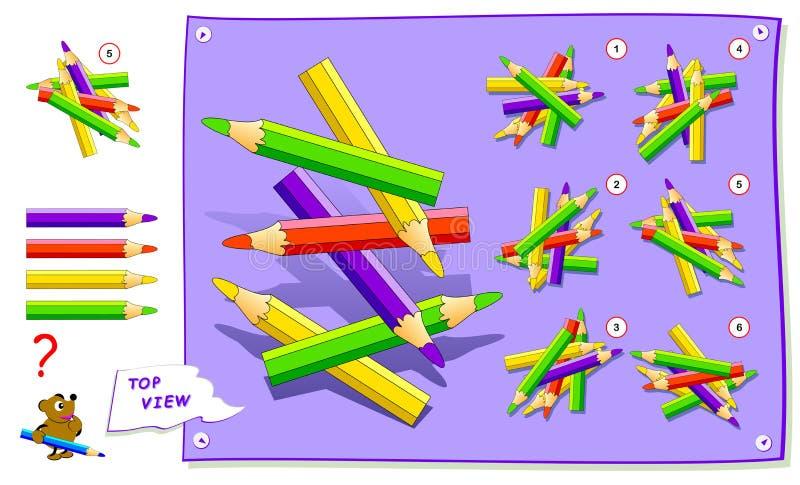Jeu de puzzle de logique pour des enfants Devez trouver la vue supérieure correcte des crayons Fiche de travail pour le manuel sc illustration libre de droits