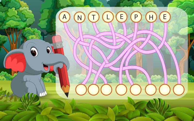 Jeu de puzzle de logique pour l'anglais d'étude avec l'éléphant illustration de vecteur
