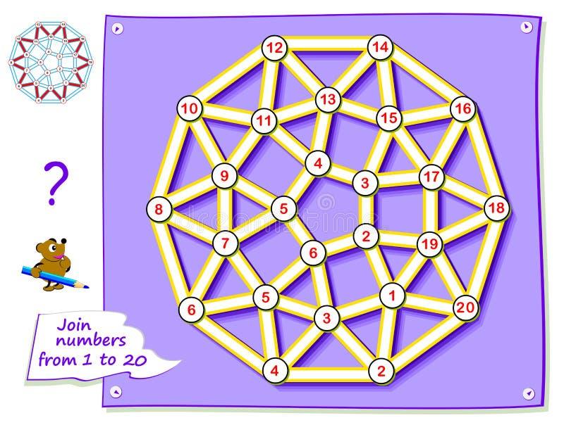 Jeu de puzzle de logique pour les enfants en bas ?ge avec le labyrinthe Tracez la ligne et tirez les nombres se reliants d'étoile illustration libre de droits