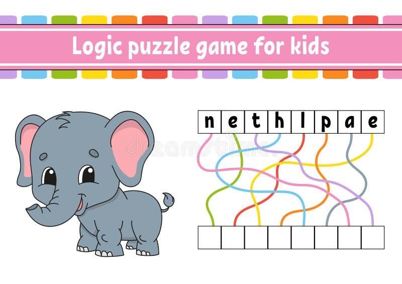 Jeu de puzzle de logique ?tude des mots pour des enfants Trouvez le nom cach? Fiche de travail se d?veloppante d'?ducation Page d illustration de vecteur