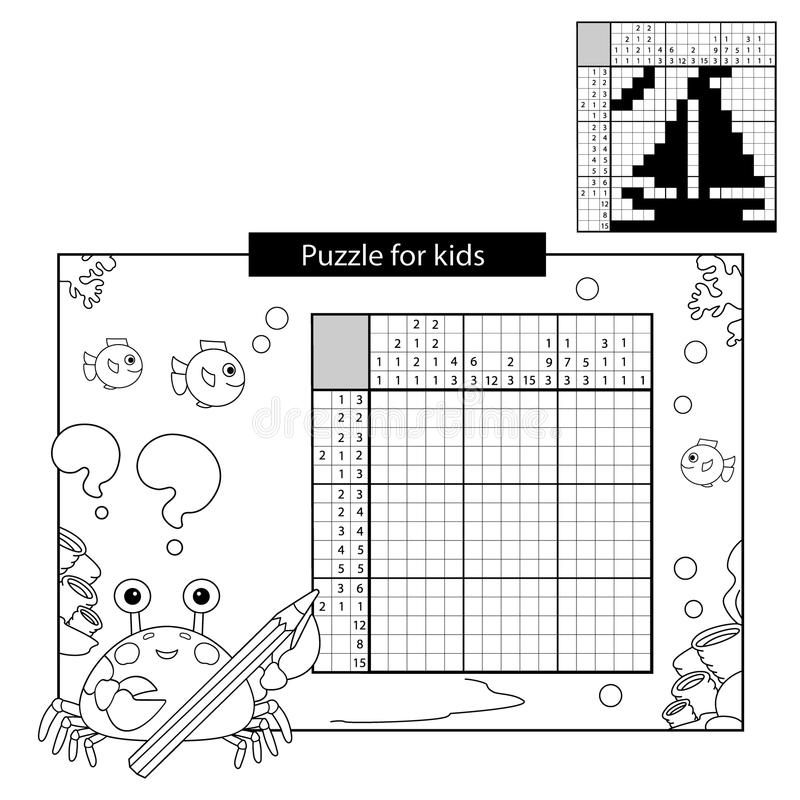 Jeu de puzzle pour des écoliers Bateau Mots croisé japonais noirs et blancs avec la réponse illustration stock