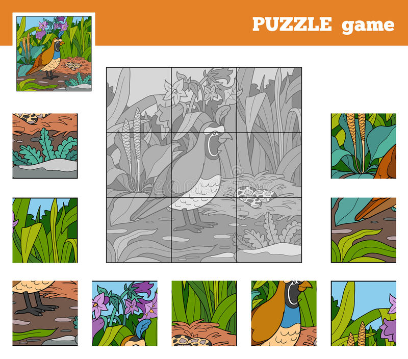 Jeu de puzzle pour des enfants avec des animaux (cailles) illustration libre de droits