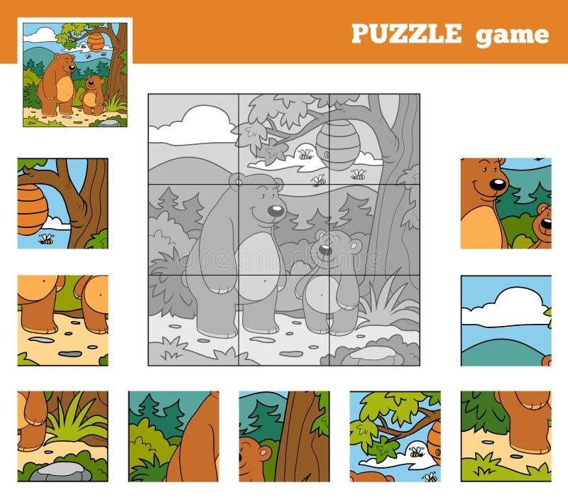 Jeu de puzzle pour des enfants avec des animaux (ours) illustration libre de droits