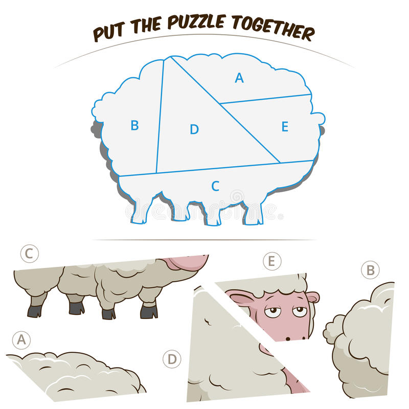 Jeu de puzzle pour des moutons illustration de vecteur