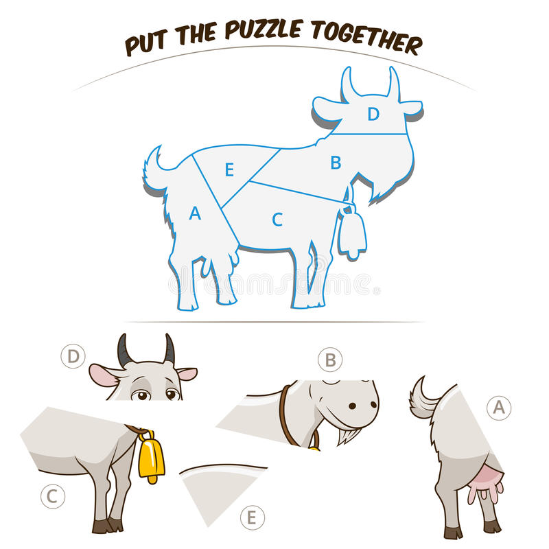 Jeu de puzzle pour la chèvre illustration de vecteur
