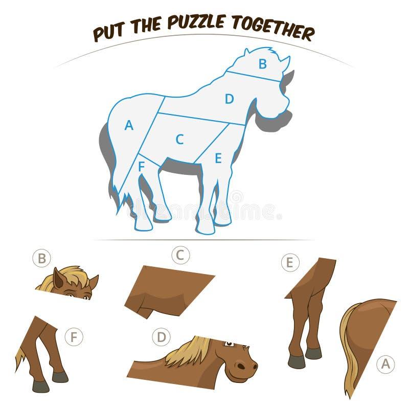 Jeu de puzzle pour le cheval d'enfants illustration stock