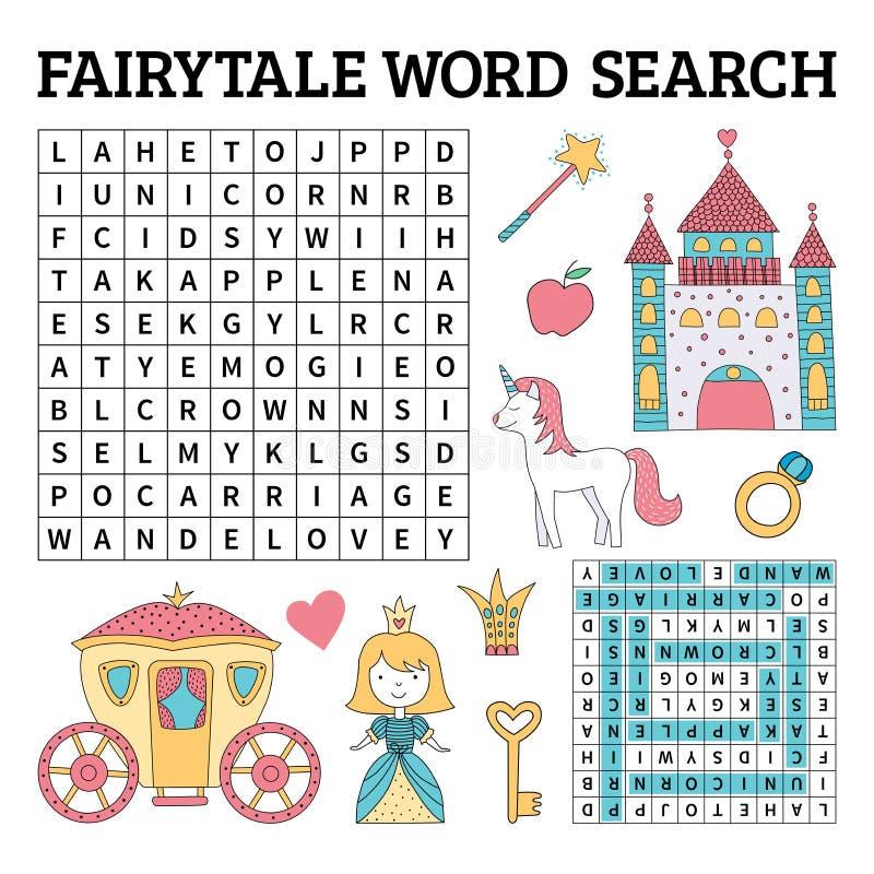 Jeu de recherche de mot de conte de fées pour des enfants dans le vecteur illustration stock