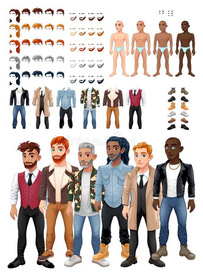 Jeu de robes et de coiffures avec les avatars masculins illustration libre de droits