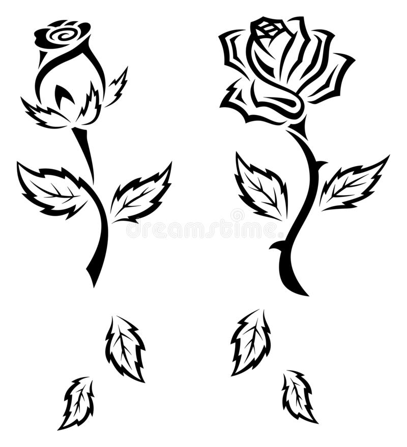 Jeu de roses de tatouage tribal noir et blanc photo stock