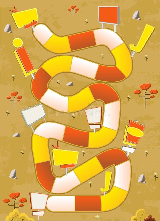 Jeu de société avec un chemin de bloc sur un parc jaune avec des panneaux d'affichage illustration de vecteur