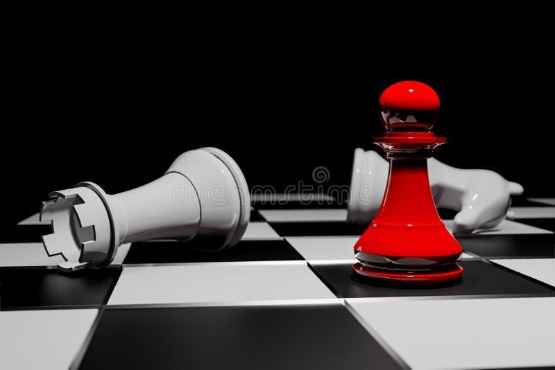 Jeu de société d'échecs, concept concurrentiel d'affaires, rendu de l'espace 3D de copie illustration de vecteur