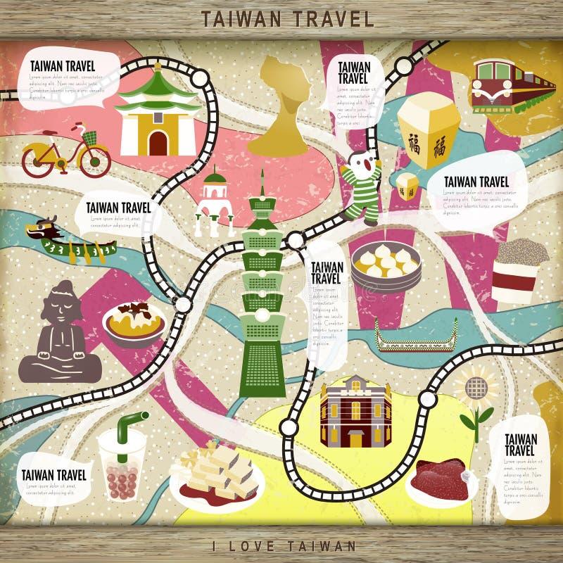 Jeu de société de concept de voyage de Taïwan illustration de vecteur
