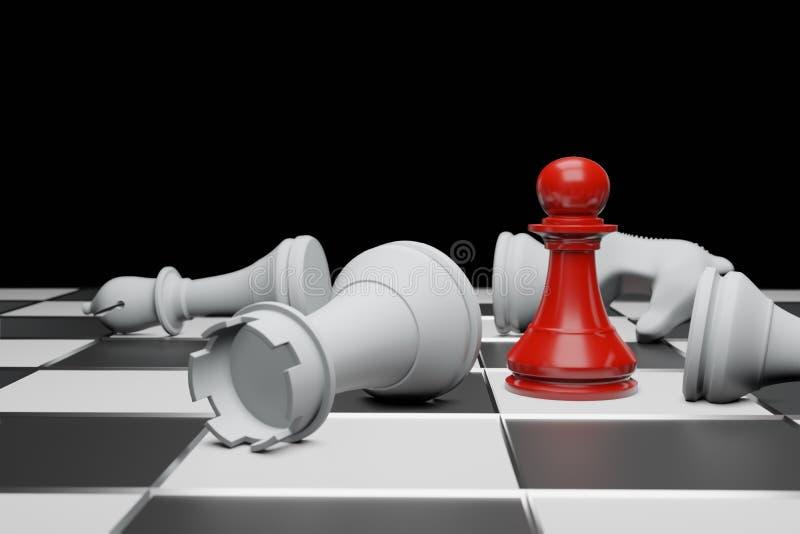 Jeu de soci?t? d'?checs, concept concurrentiel d'affaires, l'espace 3D de copie illustration de vecteur