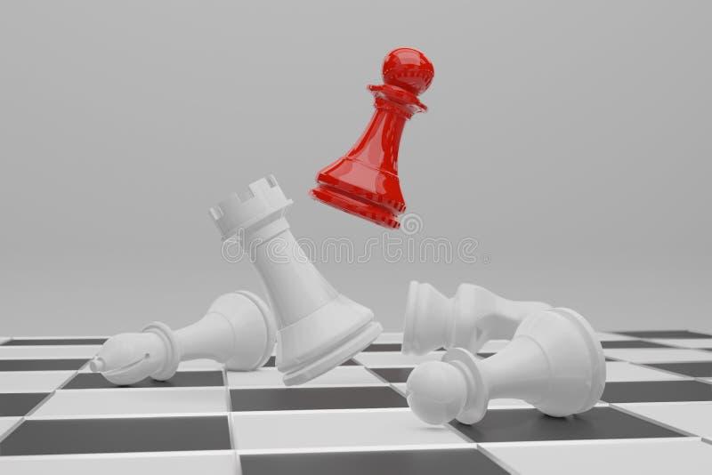 Jeu de soci?t? d'?checs, concept concurrentiel d'affaires, rendu de l'espace 3D de copie illustration stock