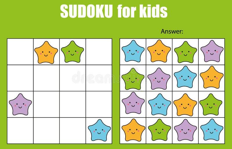 Jeu de Sudoku pour des enfants Badine la feuille d'activité avec les caractères mignons d'étoiles illustration stock