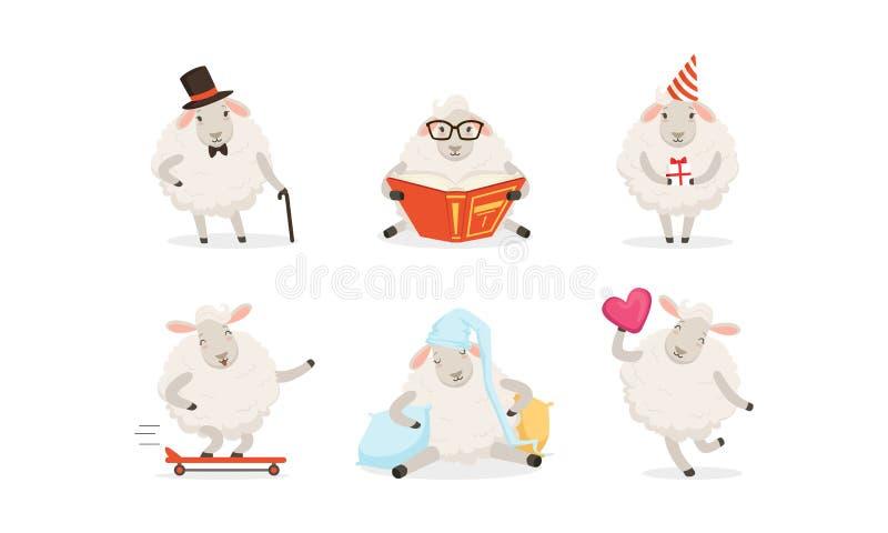 Jeu de vectoriels de mouton de caricature Livre de lecture de caractères de laine de ferme illustration stock