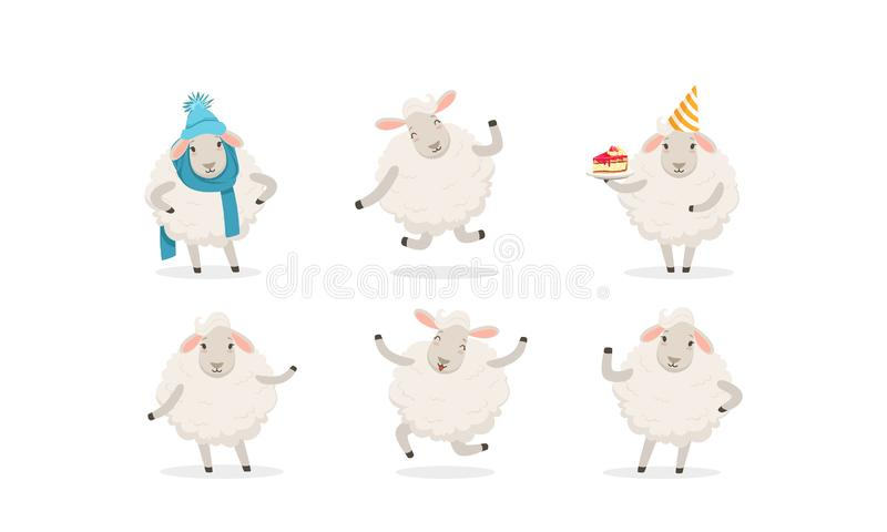 Jeu de vectoriels de mouton de caricature Personnage de laine de ferme portant des vêtements chauds illustration libre de droits