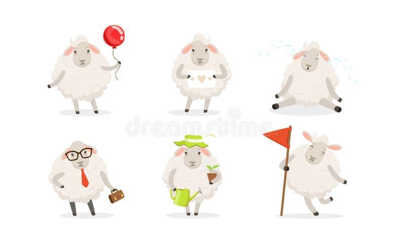 Jeu de vectoriels de mouton de caricature Usine d'eau de laine de ferme illustration de vecteur
