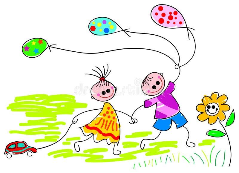 Jeu des enfants avec des baloons illustration de vecteur