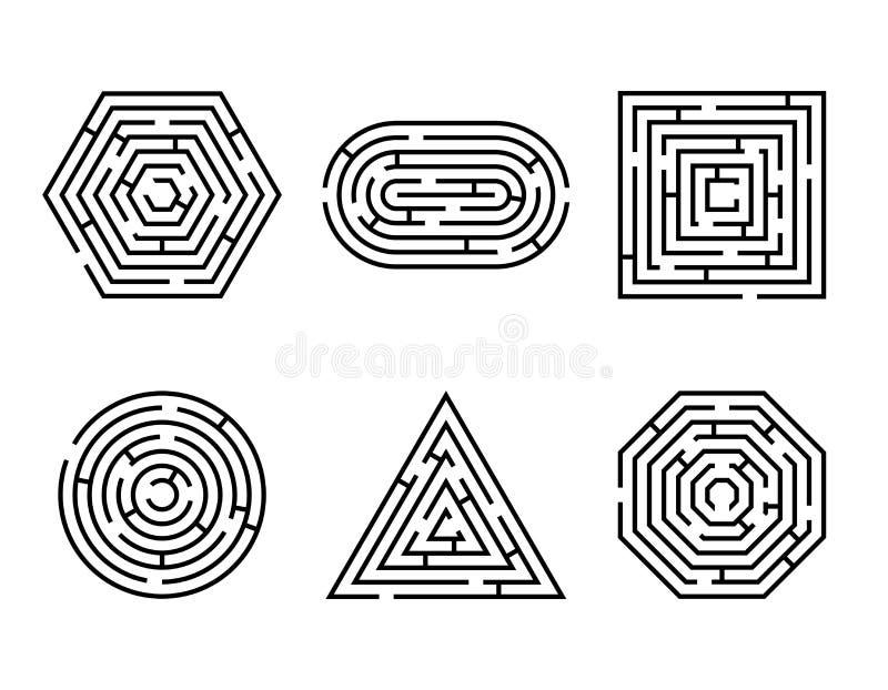 Jeu différent de formes de labyrinthe et ensemble de puzzle d'amusement de labyrinthe d'isolement sur le fond blanc Place de laby illustration stock