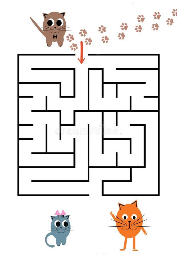 Jeu drôle de labyrinthe pour les enfants préscolaires Aidez les hérissons à venir aux amis illustration libre de droits