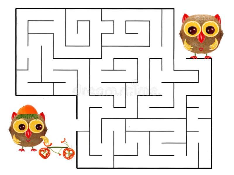 Jeu drôle de labyrinthe pour les enfants préscolaires Illustration de logique illustration de vecteur