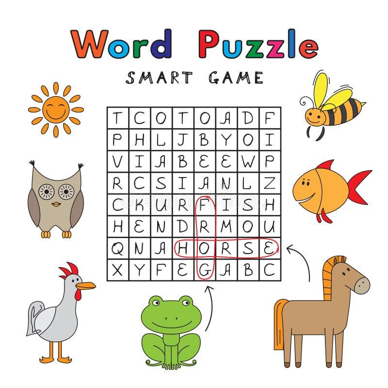 Jeu drôle de Smart de puzzle de Word d'animaux illustration stock