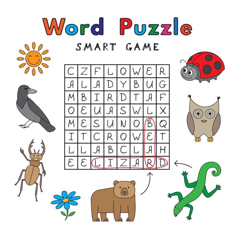 Jeu drôle de Smart de puzzle de Word d'animaux illustration de vecteur