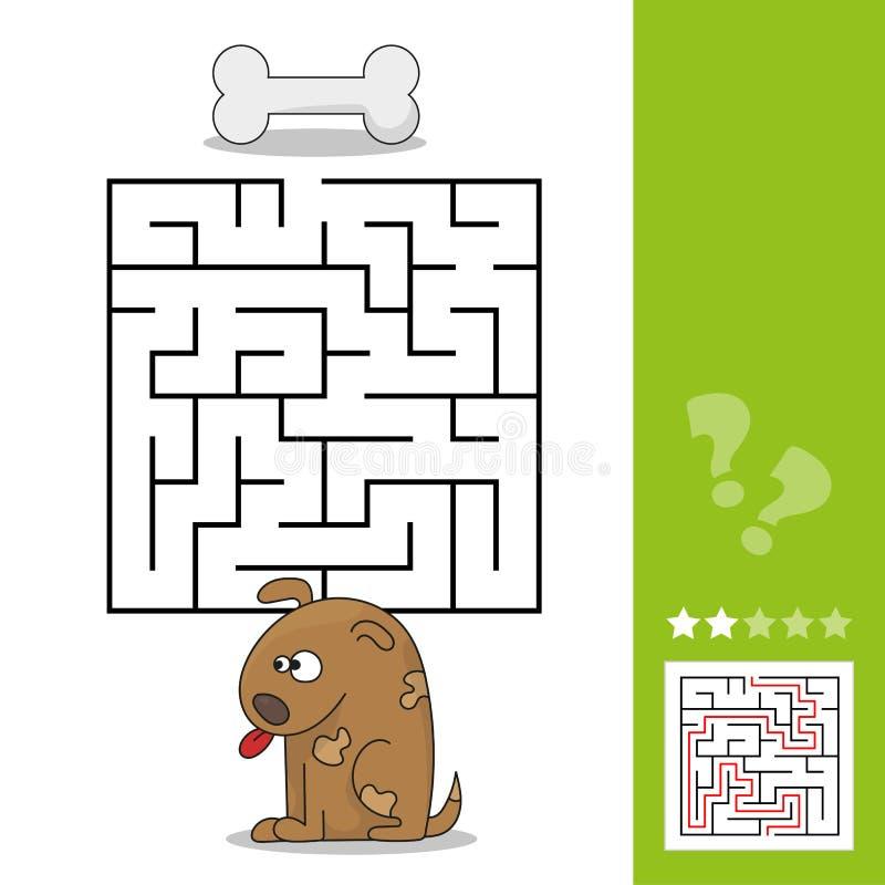 Jeu drôle pour l'éducation d'enfants labyrinthe Aidez la bande dessinée pour poursuivre pour trouver l'os illustration de vecteur