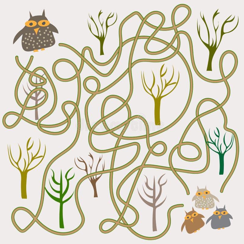 Jeu drôle de labyrinthe de hiboux pour les enfants préscolaires illustration stock