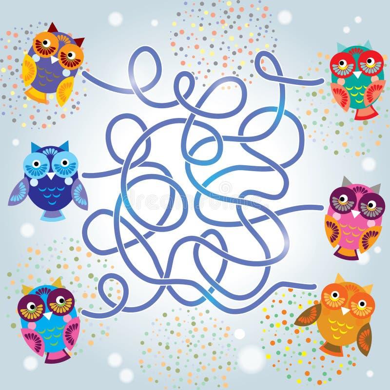 Jeu drôle de labyrinthe de hiboux pour les enfants préscolaires Vecteur illustration libre de droits