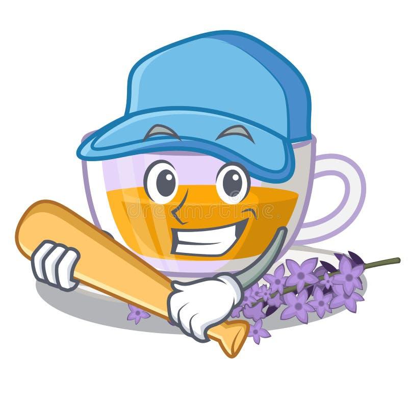 Jeu du thé de lavande de base-ball dans la forme de mascotte illustration libre de droits