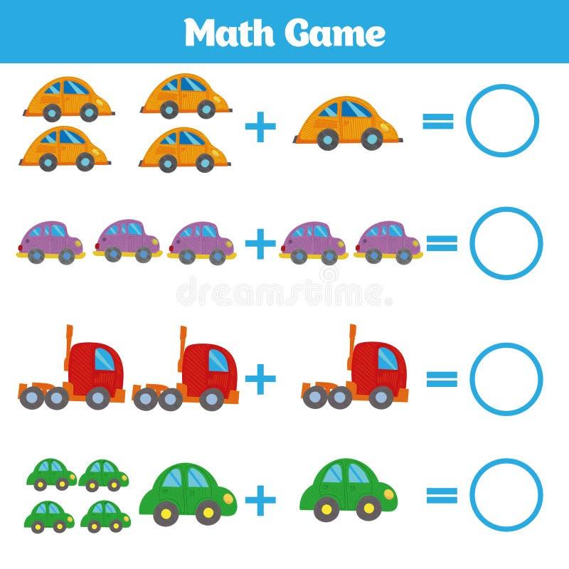 Jeu ?ducatif de math?matiques pour des enfants apprenant la fiche de travail de soustraction pour des enfants, comptant l'activit photo stock