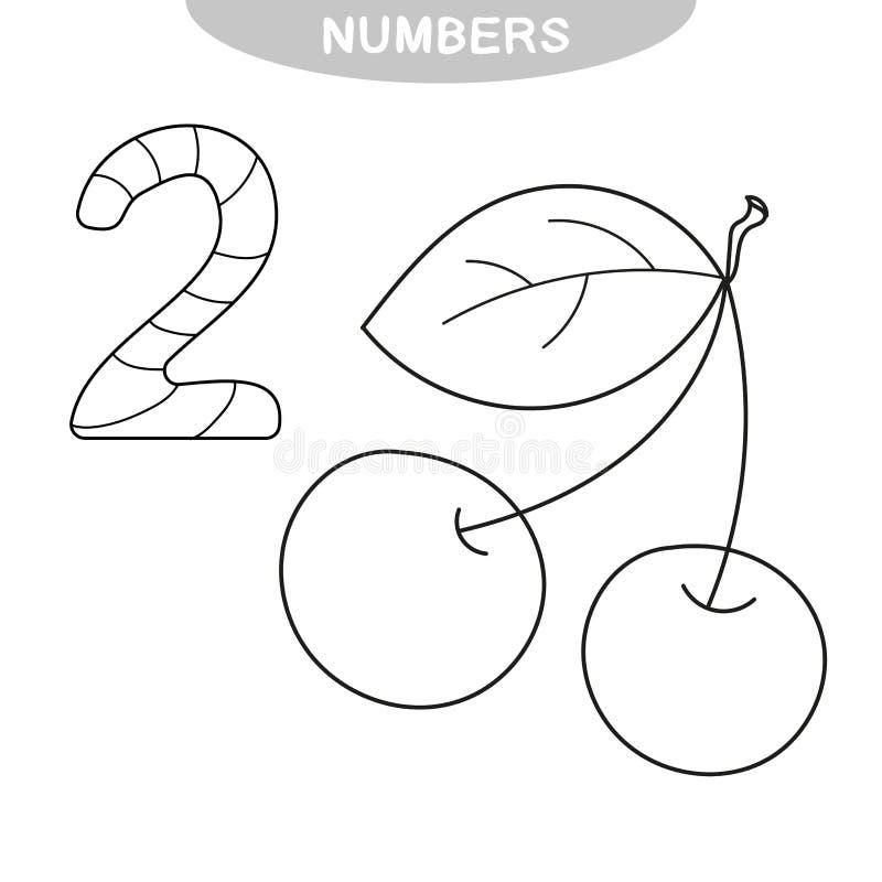 Jeu ?ducatif - ?tude des nombres Livre de coloriage pour les enfants pr?scolaires illustration de vecteur