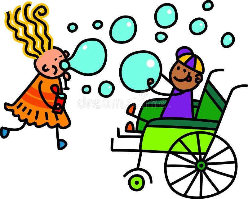 Jeu handicapé de bulle de savon illustration libre de droits