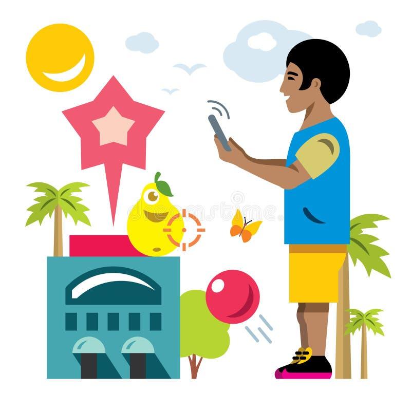 Jeu mobile virtuel abstrait de vecteur Illustration colorée de bande dessinée de style plat illustration stock