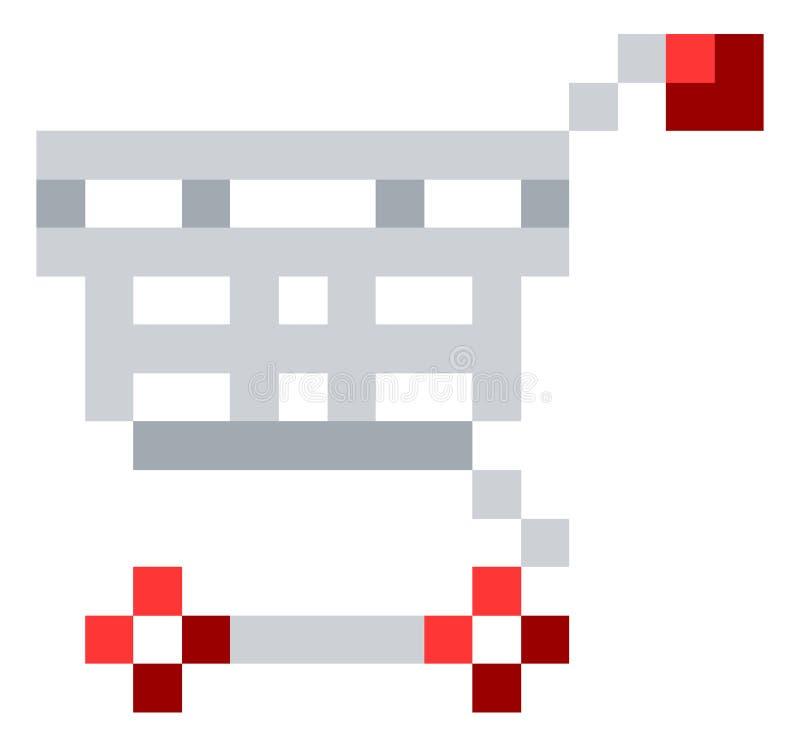 Jeu mordu Art Icon du pixel 8 de chariot à caddie illustration de vecteur