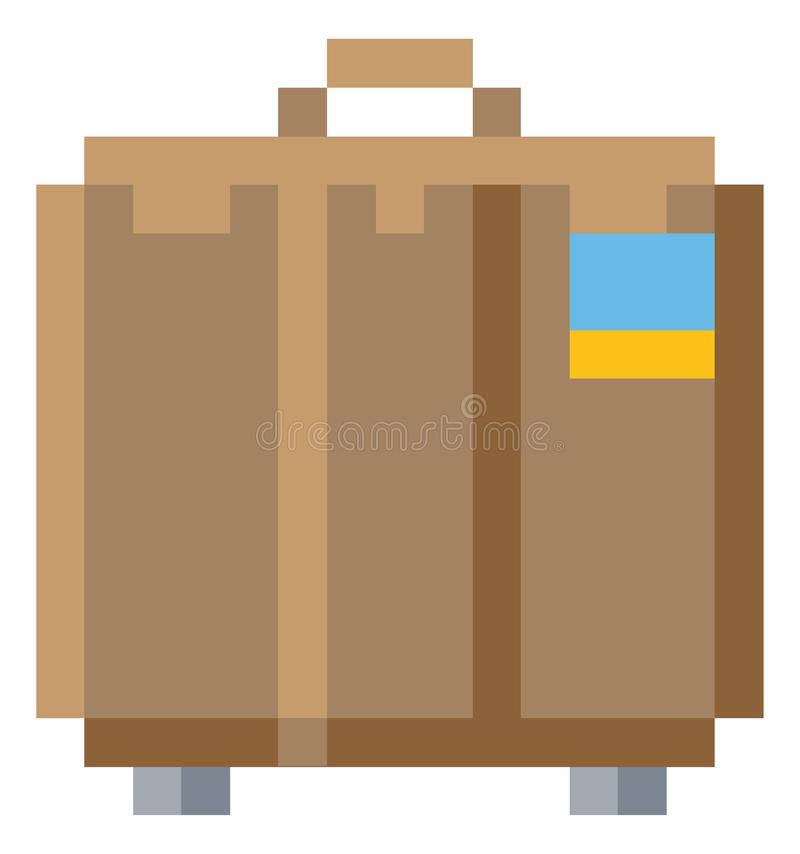 Jeu mordu Art Icon du pixel 8 de résumé de valise illustration stock