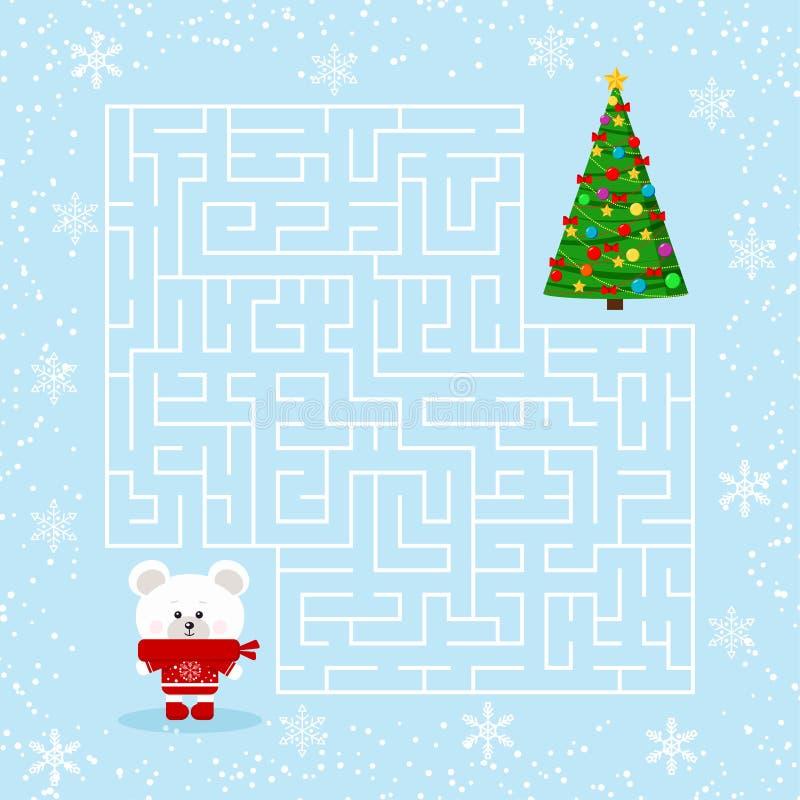 Jeu plat de labyrinthe de vecteur de conception pour jouer des enfants avec un labyrinthe illustration libre de droits
